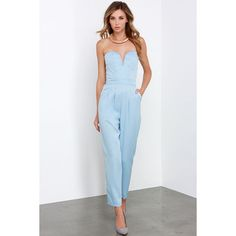 Glamorous Ever After Party Light Blue Strapless Jumpsuit ($72) ❤ liked on Polyvore