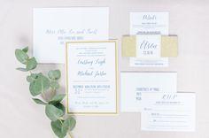 Gold Blush and Navy Wedding Invitations