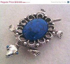 SALE Vintage GERRYS Turquoise Center Figural Silvertone Turtle Brooch Pendant Jewelry Gift
