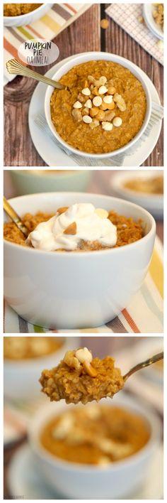 Pumpkin Pie Oatmeal! The perfect healthy breakfast for fall! | http://www.thecookierookie.com/pumpkin-pie-oatmeal/ |