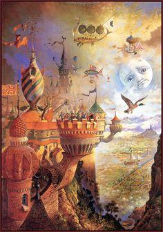 patrick woodroffe - tinker says goodbye Art And Illustration, Science Fiction Kunst, Psy Art, Hieronymus Bosch, Magic Realism, Fantasy Kunst, Visionary Art, Fantastic Art, Psychedelic Art
