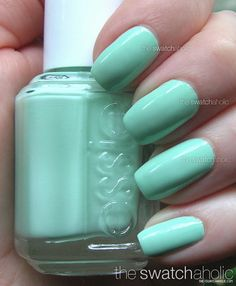 "Mint Candy Apple by Essie. Love it... looks just like Chanel's ""Tiffany Blue"" but only cost $7.79"