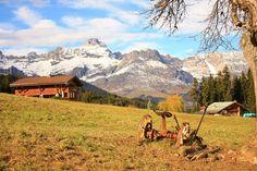 French alps, the village Combloux : a farm in autumn
