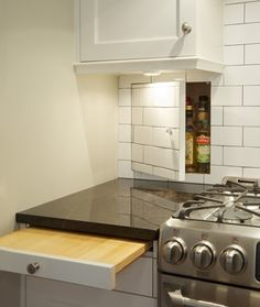 pull out chopping board and hidden storage