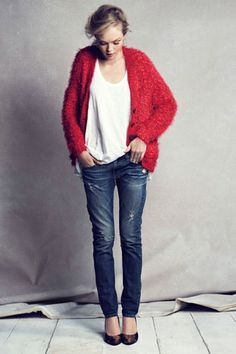 nubby red cardi and distressed jeans with pumps!