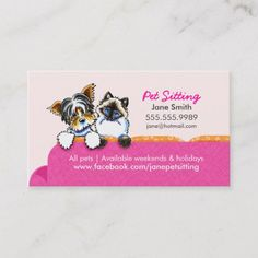Pet Sitting Yorkie w/ Cat Couch Pink Business Card - Are you a cat person? Business Holiday Cards, Business Card Size, Business Card Design, Buissness Cards, Cute Cards, Cat Couch, Pet Paradise, Pet Clinic, Animal Clinic