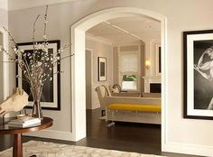 Image result for arched opening from kitchen to living room