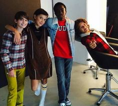 Noah, Millie, Caleb, and Gaten