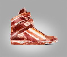 Here at That's Like, WHOA!, we love cool stuff. And we love bacon. Naturally, we are pretty crazy about bacon-inspired cool stuff, like these awesome bacon-clad kicks. Unlike Lady Gaga's freaky meat dress, you can get more wear out of these porky shoes because they are merely bacon prints on canvas or vinyl fabric