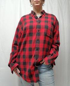 d2f728d9d35 Vtg 90s LANDS END Red Black Buffalo Plaid Flannel Shirt Men LT Grunge  Lumberjack  LandsEnd