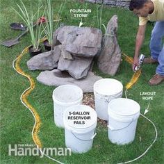 Construct a simple (one-weekend!) stone and gravel fountain that needs almost no maintenance.
