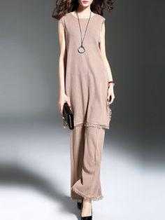 6d011a12d63f Camel Two Piece Sleeveless Slit Elegant Suits. Jacci · Jumpsuits