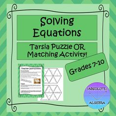 Solving Equations Tarsia Puzzle OR Matching Activity School Resources, Math Resources, Math Activities, Solving Equations, Secondary Math, 8th Grade Math, 2 Step, Middle School, High School