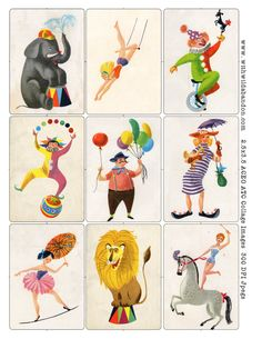 Circus Clipart and Digital Collage Sheets by withwildabandon