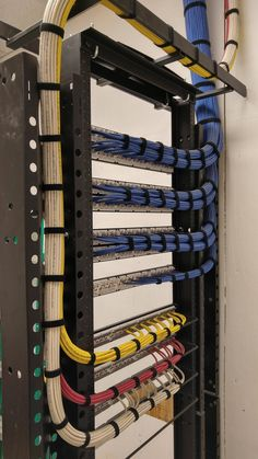 Setting up a small business network rack.