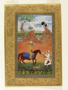 Abdullah Khan Uzbeg hawking, near Samarkand, From the Minto album