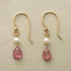 "Anne Sportun's earrings swing from 18kt French wires, a cultured potato pearl atop each trapeze-mounted tourmaline. Handmade in Canada. Approx. 7/8""L."