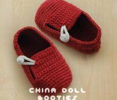 China Doll Baby Booties Crochet PATTERN, PDF - Chart & Written Pattern