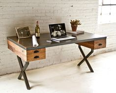 Walter Desk is a beautiful merge of industrial and rustic styling. The stylish desk is made from reclaimed oak that is left unfinished, to expose the weathered grain and telltale marks of its former life. Handmade in Brooklyn, NY, by furniture design Wood Office Desk, Home Office Desks, Office Furniture, Oak Desk, Kitchen Office, Office Table, Pipe Furniture, Wooden Furniture, Reclaimed Wood Desk