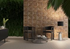 Wall panels Italy Classic in the modern design of the zone for meetings and negotiations. The design ву Ukrainian studio Sungrey Design seamlessly complements the fern hedge on the wall and pebbles on the floor.