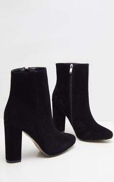 Behati Black Faux Suede Ankle Boots,Black Boots for Women - Experience the Wind and Weather with Elegance Women's boots : With the right women's boots , you not only ensure it is through. Ankle Boots Schwarz, Suede Ankle Boots, High Heel Boots, Black Boots With Heels, Ankle Shoes, Black Suede Boots, Black Wedges Heels, Flat Shoes, Ankle Boot Outfits