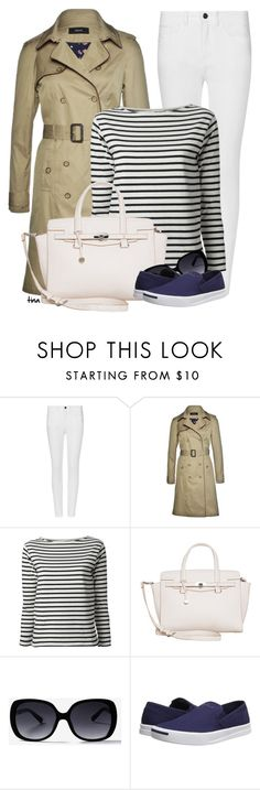 """Trench Coat & White Jeans"" by matulik77 ❤ liked on Polyvore featuring M&S, Kookaï, Yves Saint Laurent, Fiorelli and Converse"