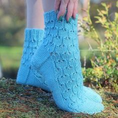 Simple lace socks worked in thick yarn makes knitting fun and interesting and of course they are lovely to wear as well! Boot Toppers, Lace Socks, Thick Yarn, Knitting Socks, Knitting Ideas, Fingerless Gloves, Arm Warmers, Mittens, Ravelry