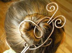 Heart Hair Clip Barrette Metal Hair Pin Hair by ElizabellaDesign, $19.50