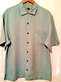 Tommy Bahama Men's Button-Front Short Sleeve Solid Blue SILK Shirt S Medium | Clothing, Shoes & Accessories, Men's Clothing, Casual Shirts | eBay!