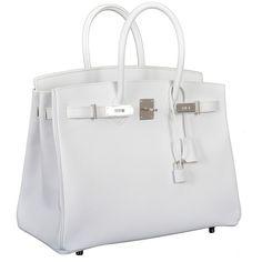 154a06c3599 HERMES BIRKIN BAG 35CM WHITE EPSOM PALLADIUM HARDWARE at 1stdibs ❤ liked on  Polyvore Hermes Handbags