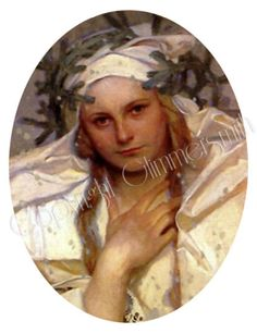 Single image printable 30 x 40 mm digital download of Alphonse Mucha art by Glimmersmith, $0.80
