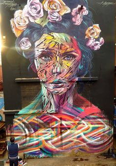 Street Art by Hopare - In Casablanca, Morocco...love the way her face has been painted <3
