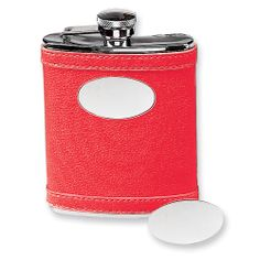 6 oz. Stainless Steel Faux Leather Red Flask