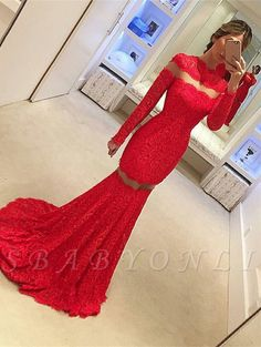 Special High Neck Red Prom Dresses Long Sleeve See-Though Lace Mermaid Evening Gowns Zipper Back Sweep Train Party Dress Lace Prom Gown, Mermaid Prom Dresses Lace, Prom Dresses Uk, Prom Dresses Long With Sleeves, Lace Mermaid, Dresses Online, Wedding Dresses, The Dress, Special Occasion Dresses