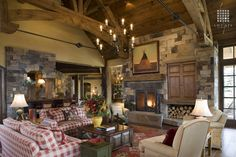 Country Living Room with French Doors