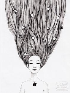 Catch the stars in your hair.  Illustration by Olga Yatsenko. www.olarty.com