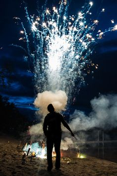 Marauders blowing fireworks next to the back lake