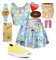 """""""Emoji Outfit"""" by alove1812 ❤ liked on Polyvore featuring Converse, Casetify, Bijoux de Famille and AubreysCuteSets"""