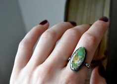Green Royston Turquoise Silver Stacker Ring by TheStrayArrow, $68.00