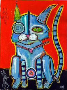 """bad kitty""  2013 painting by Matt Sesow the latest at http://new.sesow.com"
