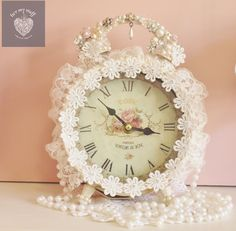 pinkalcious blinged shabby chic clock by luv my stuff www.luv,ystuff.com.au