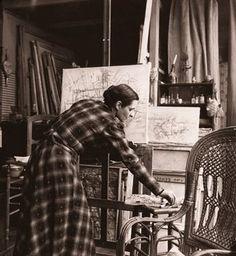 Portuguese painter Maria Helena Vieira da Silva in her studio