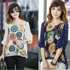 Korean Fashion Women's Loose Chiffon Tops 3/4 Sleeve Shirt Casual Blouse #UnbrandedGeneric #Blouse #Casual