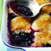Blueberry Cobbler made with frozen blueberries to have even when blueberries aren't in season