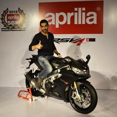 John Abraham launches the Aprilia bike, posed with his new Aprilia RSV4 at a press conference in Mumbai. Aprilia became the second premier I...
