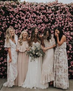 These bridesmaid dresses would be perfect for a laid back yet glamorous boho wedding. Bridesmaid Dresses Floral Print, Mismatched Bridesmaid Dresses, Wedding Bridesmaid Dresses, Floral Maxi, Boho Bridesmaids, Bridesmaids In Different Dresses, Boho Wedding, Dream Wedding, Wedding Ideas