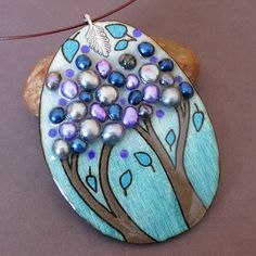 Etsy...Canada...Wood burned, hand painted and adorned with fresh water pearls.
