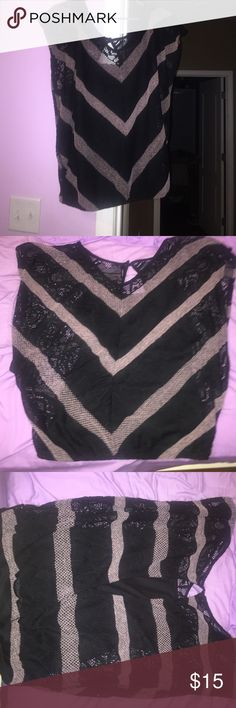 Black and blush lace butterfly top! This is a Maurice's top with butterfly sleeves. The top also features crossed/open back with a black cami sewn inside. The blouse does not have tags but has only been one once. Maurices Tops Blouses