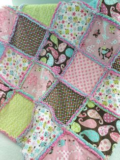 Flannel and Minky Patchwork Rag QuiltRag by SweetBabyBurpies, $55.00