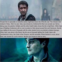 Pretty sure this is the first time one of these has actually blown my mind. Harry Potter and Neville Longbottom - both The Chosen One. Neville Longbottom, Harry Potter Fandom, Harry Potter Memes, Potter Facts, Harry Potter Theories, Voldemort, Archie Comics, Dr Who, Sherlock